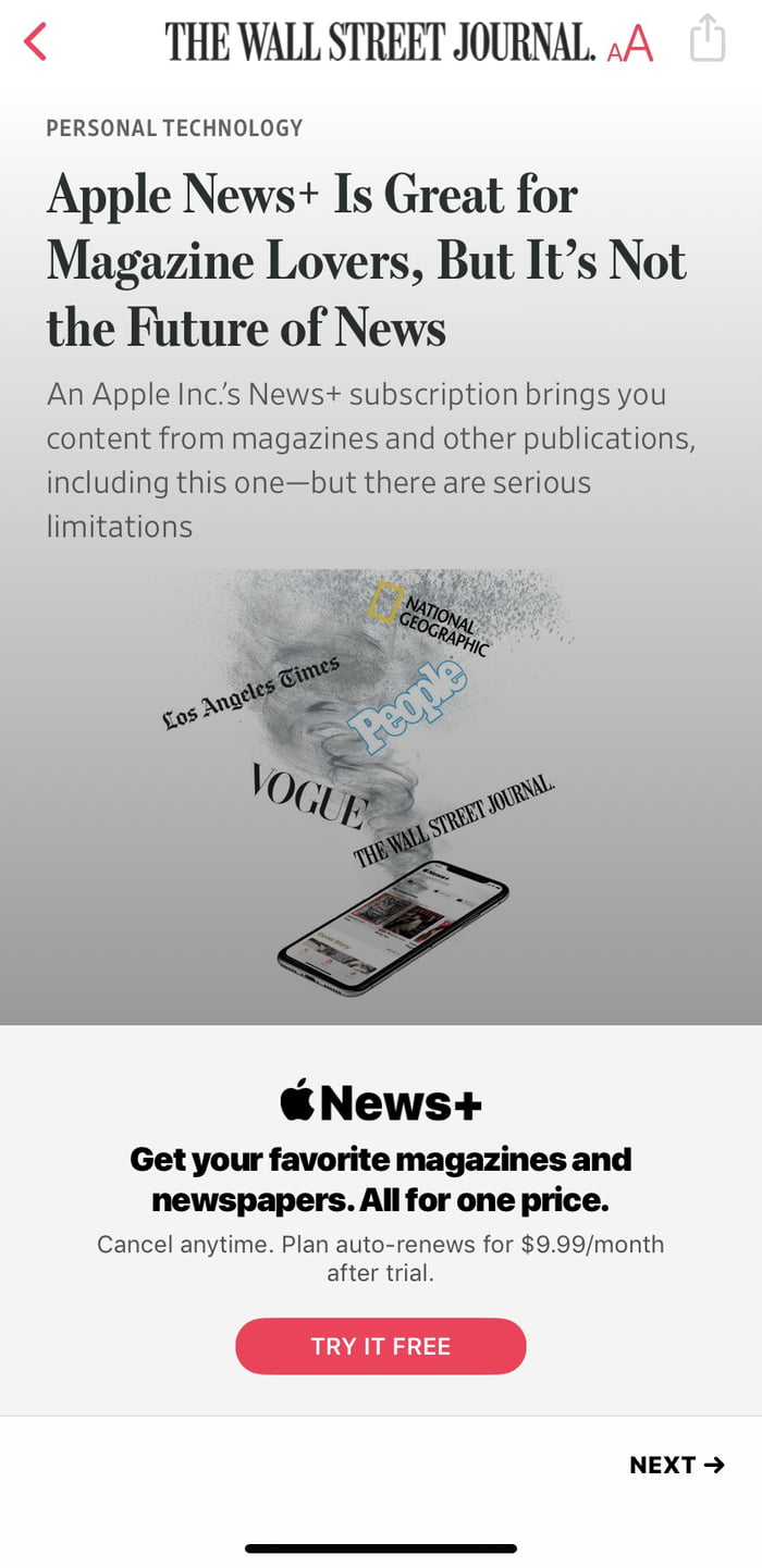 Can't read the article cause I don't have Apple News+