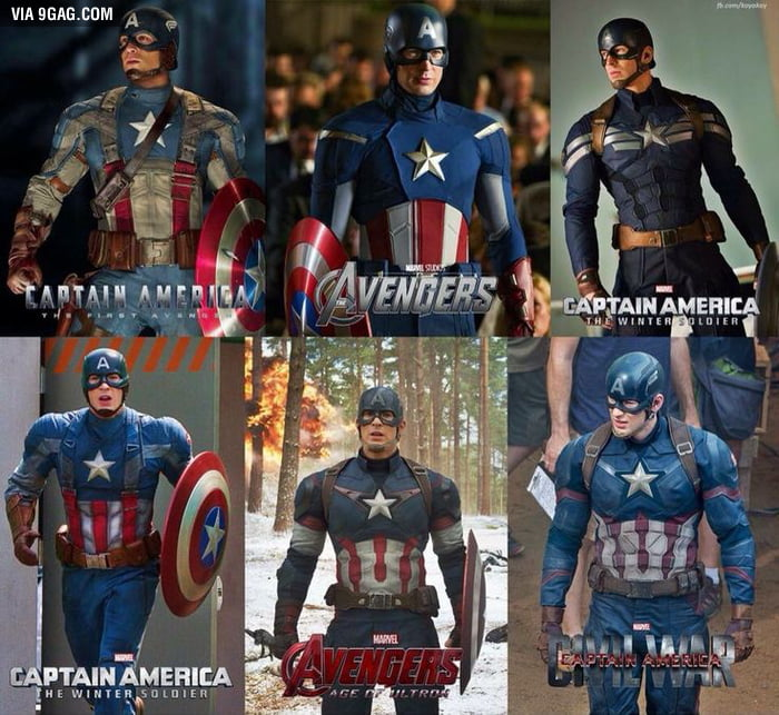 All Captain America suits (from MCU)