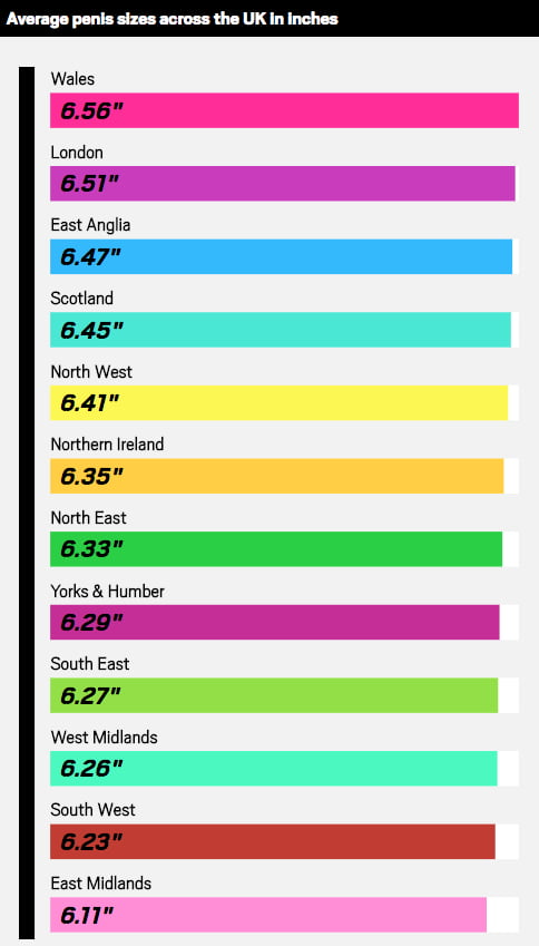 Erect penis sizes compared across the world