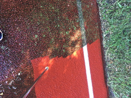Today I power washed a running track