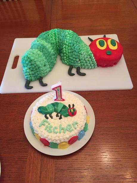 Sensational The Very Hungry Caterpillar Birthday Cake W Gluten Free Smash Personalised Birthday Cards Veneteletsinfo