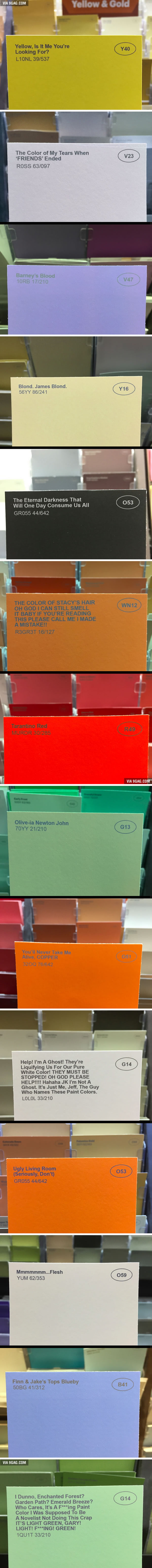 A guy renamed some of the paint colors at the hardware store