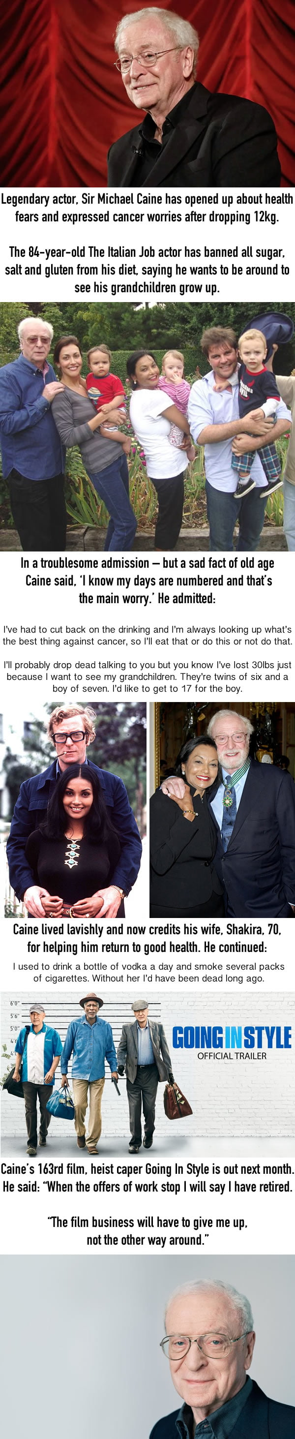 Sir Michael Caine Loses 12kg Amid Cancer Fears, Thanks His Wife For Keeping Him Going