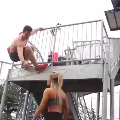 Happy couple workout