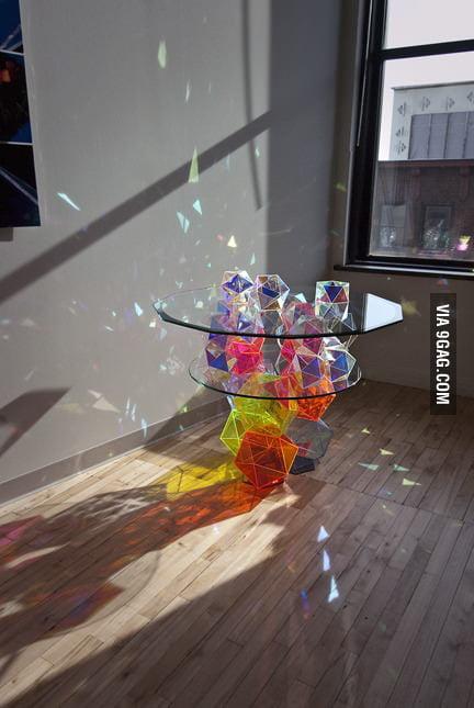 Gorgeous geometric glass table