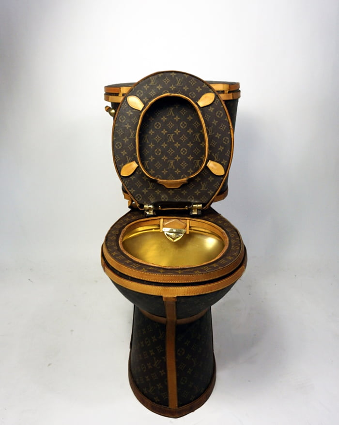 toilet made of gold. Louis Vuitton Toilet Is Now Available And It Made With 24 LV Bags A  Gold Plated Seat 9GAG