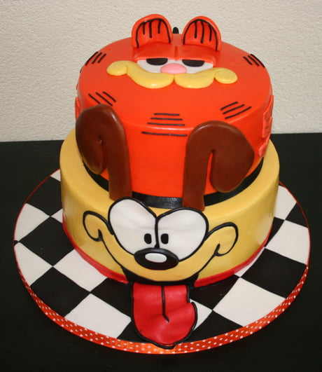 Awe Inspiring Garfield Odie Layer Cake 9Gag Personalised Birthday Cards Veneteletsinfo