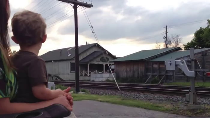Kid realises dad is driving the train