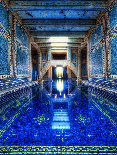 Azure blue indoor pool at hearst castle.