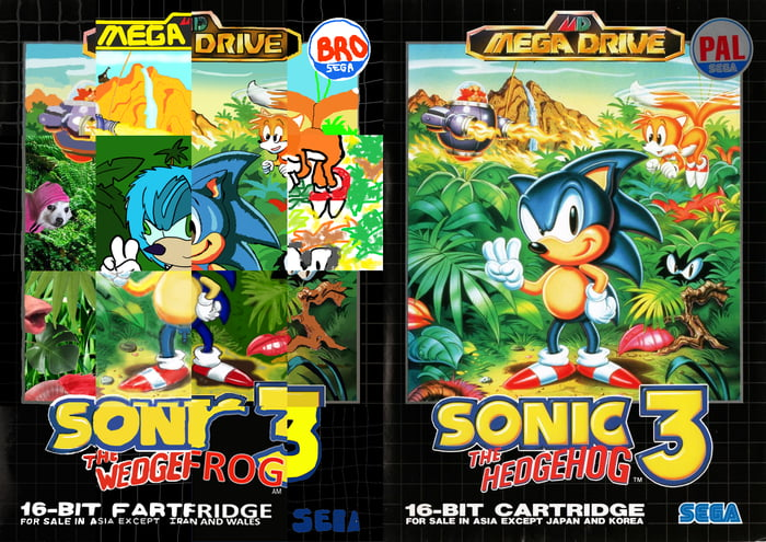 A Game In Which Each Person Redraws A Piece Of The Original Sonic 3 9gag