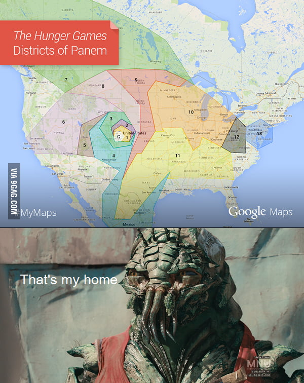 Google launch Panem (Hunger Game) map - 9GAG