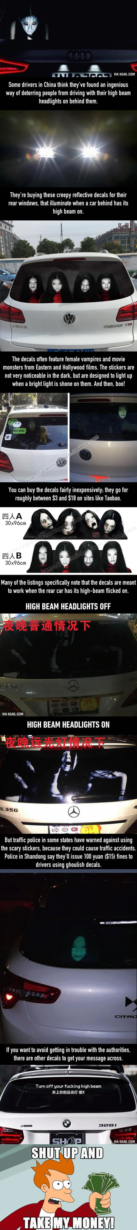 Chinese Drivers Try To Deter High-Beamers With Scary