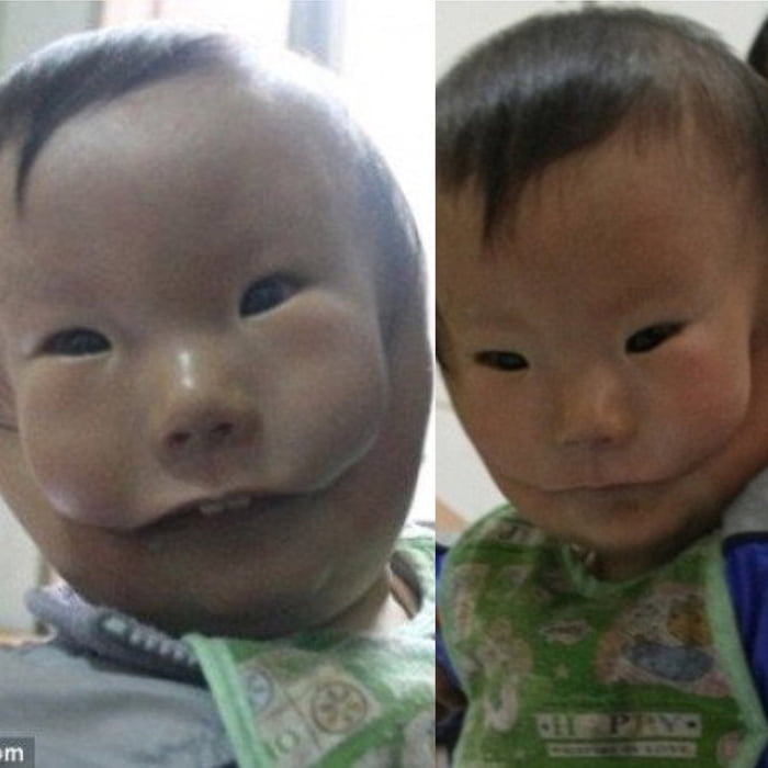 Boy And Huikang China Rare Mask Flesh Who Very Scary Wears -
