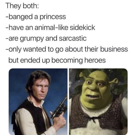 han solo and shrek same outfit