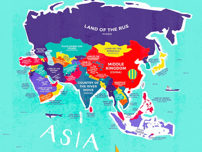 World map reveals the historical meanings of country names 9gag by using a range of sources such as the world fact book and oxford dictionaries each countrys name was translated into its early native language gumiabroncs Choice Image