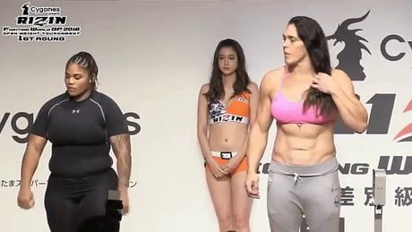 Weigh-in for an 'open weight' women's fighting tournament.