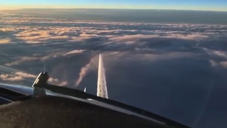"""""""Captain: If you look at your left side you will notice we are racing with a fighter jet."""" (German Eurofighter intercepting a 777)"""