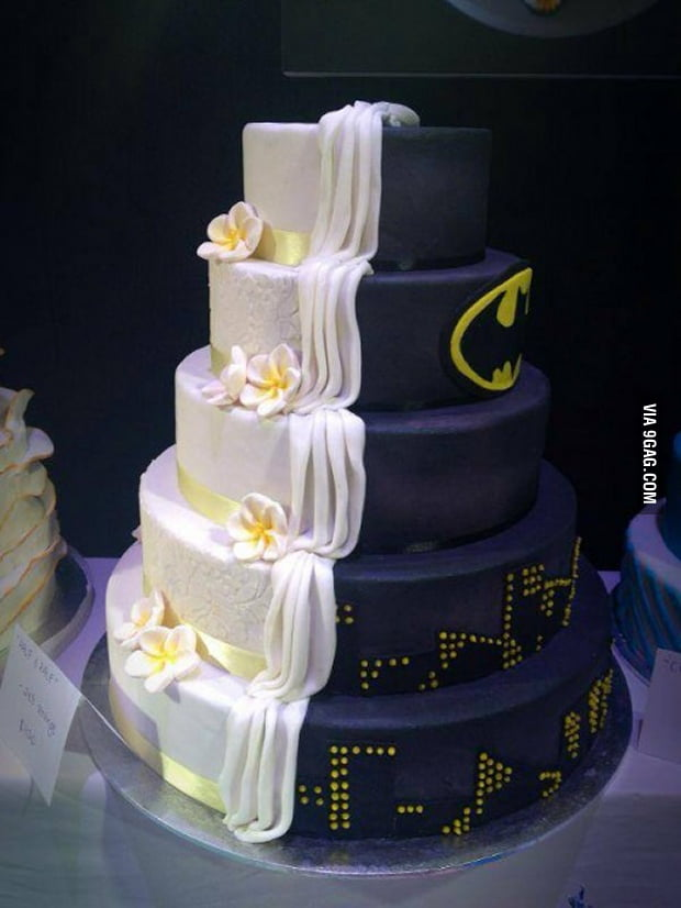 By Day It's Just An Ordinary Wedding Cake, At Night, It's A Batman Cake
