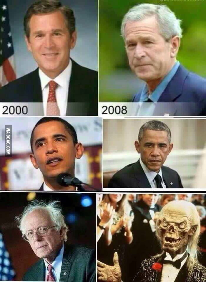 aNnY2X6_700b presidents aging process plus bernie sanders before and after 9gag,Obama Before And After Meme