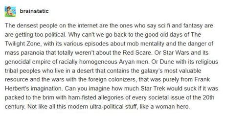 TL;DR - Sci-Fi and politics