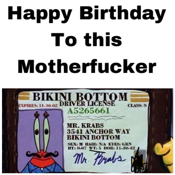Happy Birthday Mr Krabs! - 9GAG