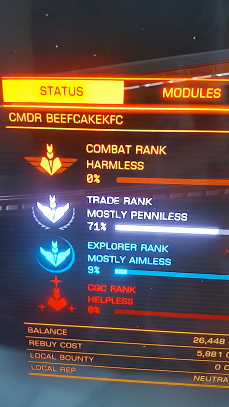 That moment when your Elite Dangerous rating sums up your life...