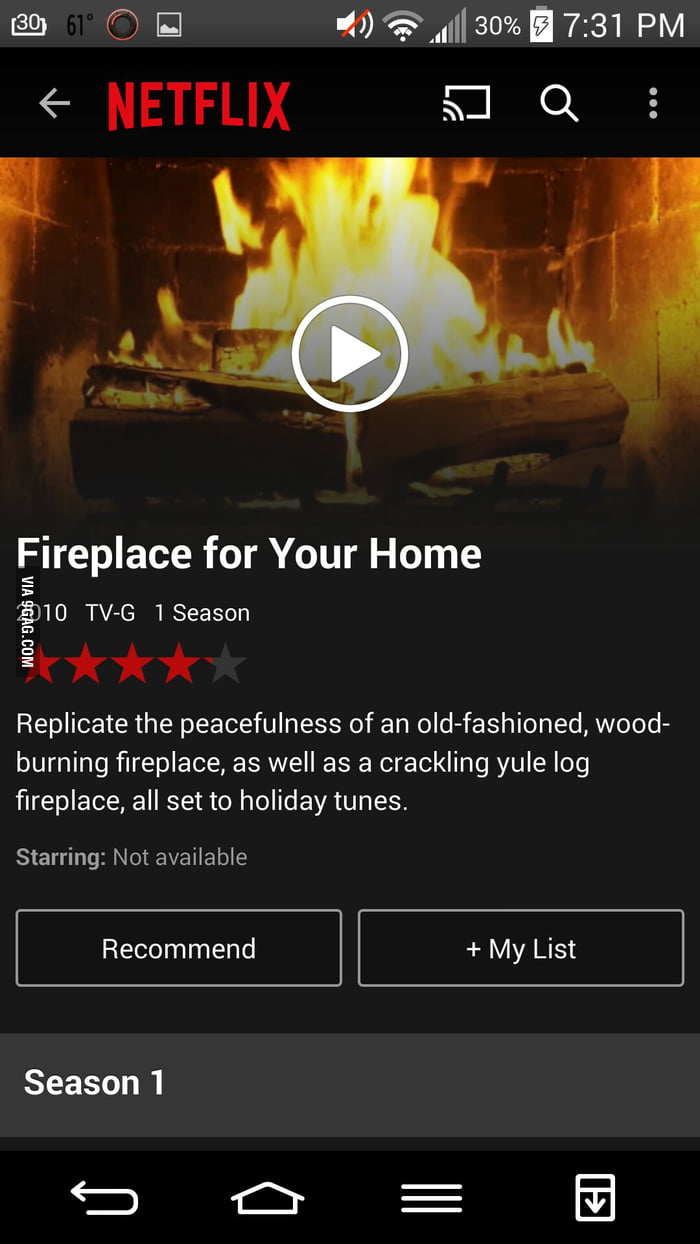 On Netflix there is an hour of just a burning fireplace  - 9GAG