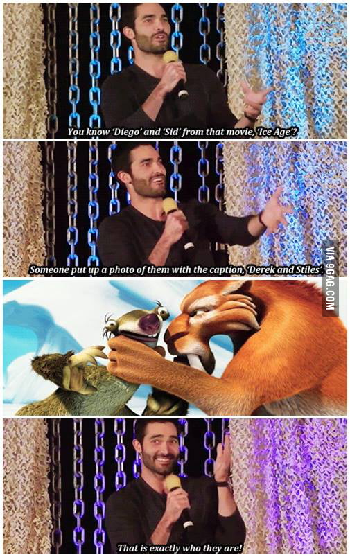 Derek Stiles Sex Porn - Just Tyler Hoechlin comparing Sid and Diego from Ice Age and Stiles and  Derek from Teen