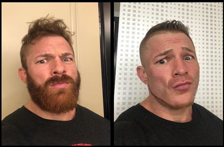 What a difference a beard makes! Flex Lewis had a shave - 9GAG