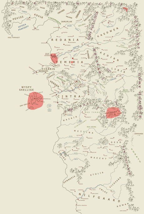 A complete (unofficial) map of the world of The Witcher. The ...