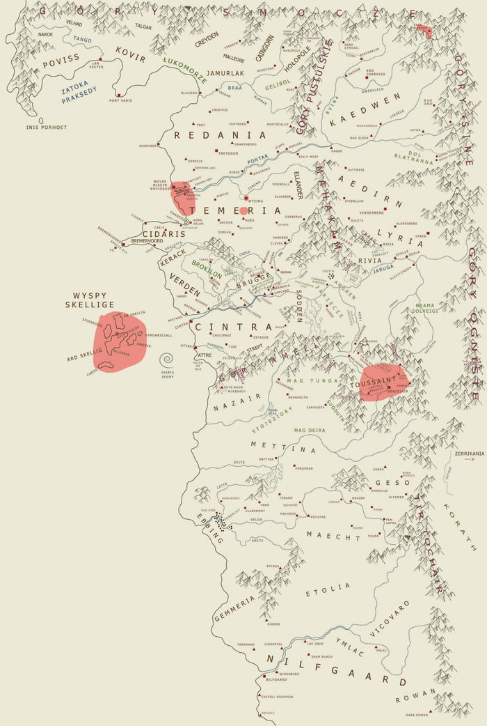 A complete (unofficial) map of the world of The Witcher. The red ...