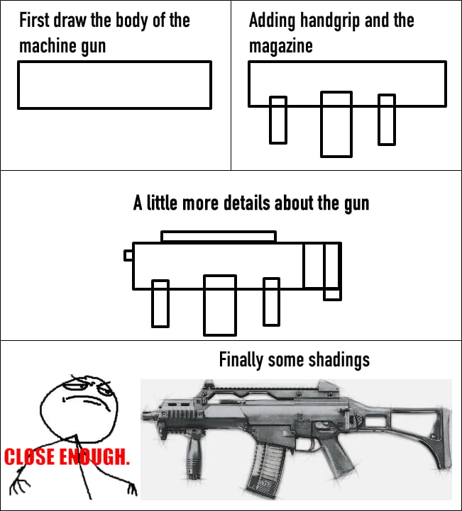 How to draw machine gun in 4 steps