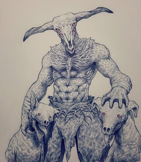I drew Capra Demon! and his doges