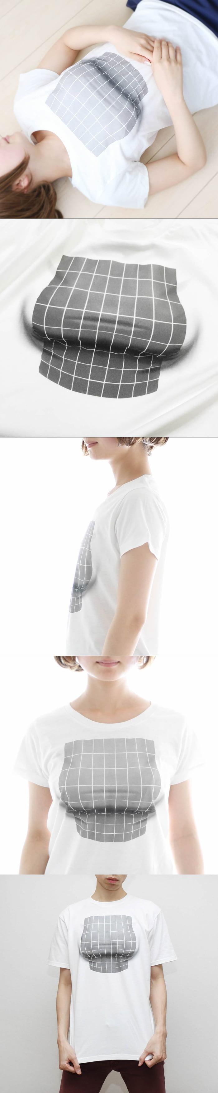 3d boobies optical illusion tee