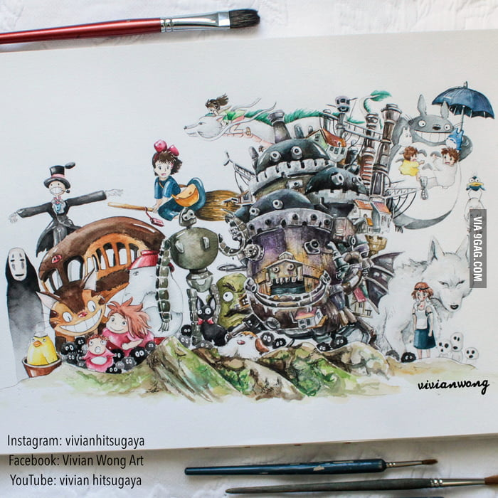 Beautiful Studio Ghibli Painting By Vivian Wong