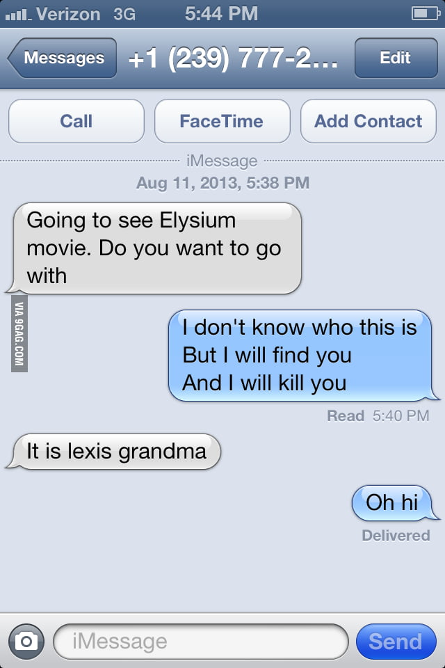 So I got a text from a random phone number - 9GAG