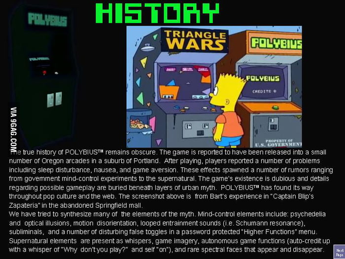 Heres the infamous Polybius, some crazy arcadegame, with
