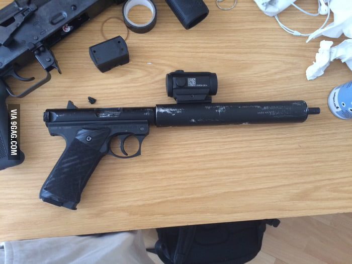 Just finished my homemade silencer for my airsoft gun (reduces the