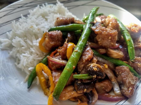 Teriyaki stir fry with crispy pork - 9GAG