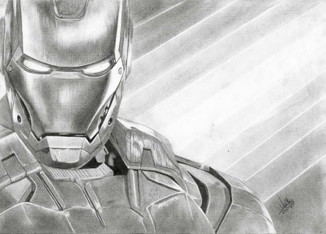 Iron Man pencil drawing by ExtremeGun