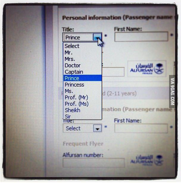 Love the title option when booking a flight from Saudi - 9GAG