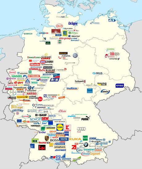 Map of main German companies headquarters - 9 Map Company on hotel company, twitter company, media company, profile company, element company,