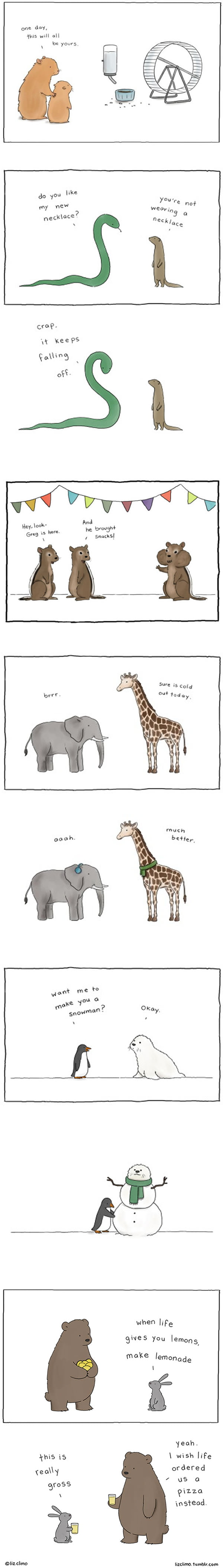 A Series Of Cute Animal Comics That Will Make You Smile (By Liz Climo)