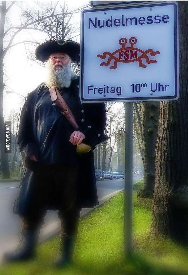"""""""Brother Spaghettus"""" fights to advertise the Church of the Flying Spaghetti Monster next to Christian churches"""