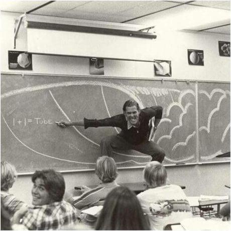A California High School Teacher explaining the physics of surfing