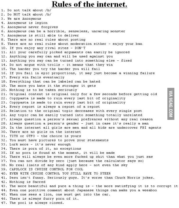 For everyone who wondered: THE RULES OF THE INTERNET - 9GAG