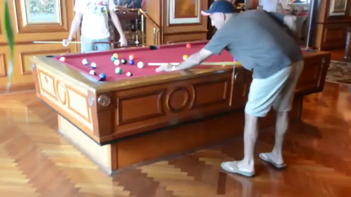 Self-stabilizing Pool Table On A Cruise Ship