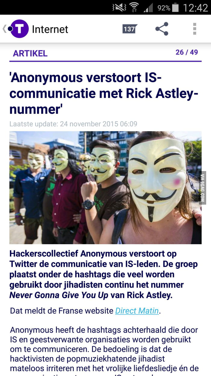 Anonymous disrupts Islamic State communications with Rick Astley