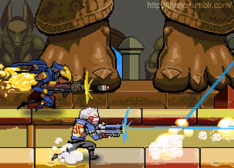I'd play the heck out of this Overwatch-Metal slug.
