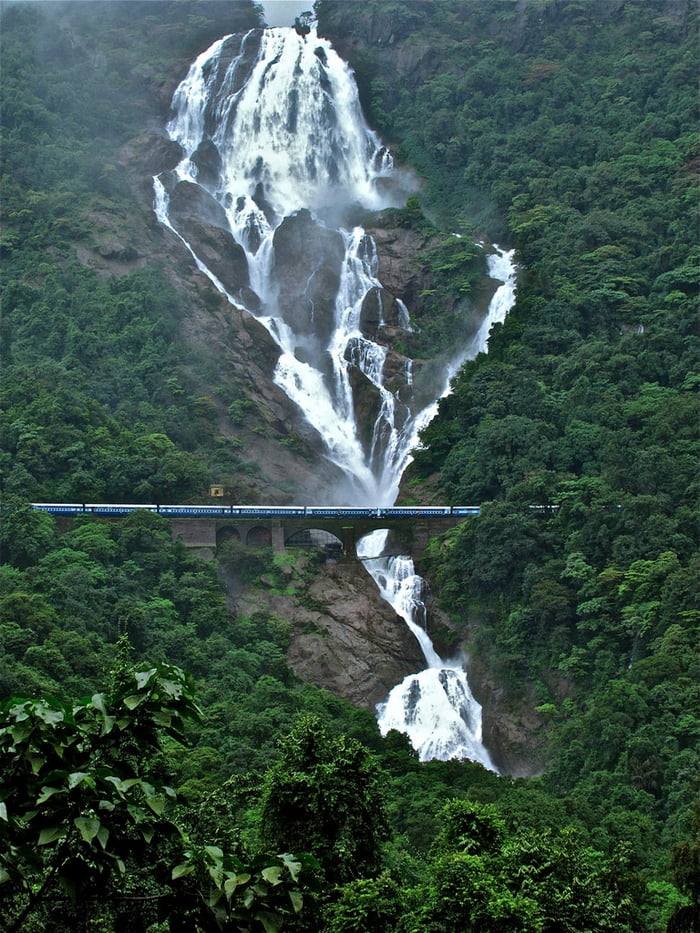 Waterfalls in India. Train for scale.